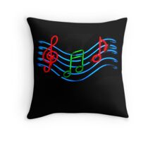 Music Neon Sign Throw Pillow