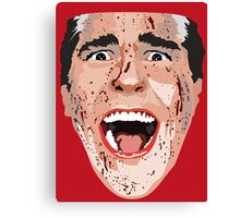 American Psycho Vector Portrait - Red Canvas Print