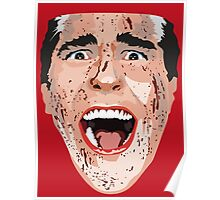 American Psycho Vector Portrait - Red Poster