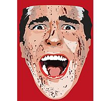 American Psycho Vector Portrait - Red Photographic Print