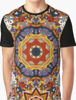 Orange & Purple Boho Geometric Pattern Graphic T-Shirt
