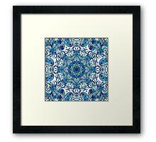 Blue & White Boho Mandela Pattern Framed Print