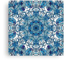 Blue & White Boho Mandela Pattern Canvas Print