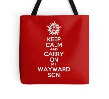 Keep Calm My Wayward Son (red) Tote Bag