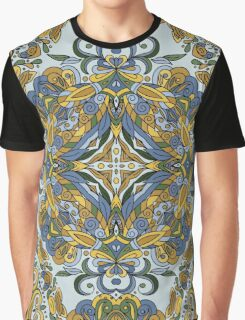 Olive Green & Blue Boho Mandela Pattern Graphic T-Shirt