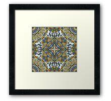 Olive Green & Blue Boho Mandela Pattern Framed Print