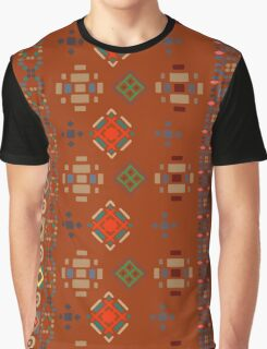 Red Boho Geometric Pattern Graphic T-Shirt