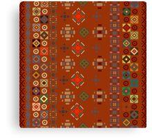 Red Boho Geometric Pattern Canvas Print