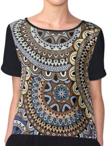 Blue & Gold Boho Mandela Pattern Chiffon Top