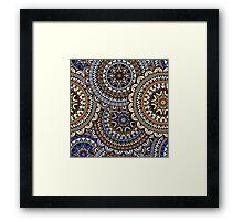 Blue & Gold Boho Mandela Pattern Framed Print
