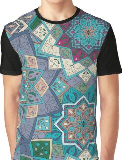 Purple & Blue Boho Mandela Pattern Graphic T-Shirt