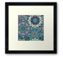 Purple & Blue Boho Mandela Pattern Framed Print