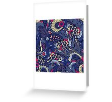 Pink & Purple Boho Floral Pattern Greeting Card