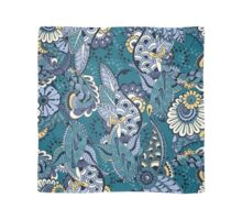 Yellow & Blue Boho Floral Pattern Scarf