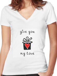 Give you my love Women's Fitted V-Neck T-Shirt