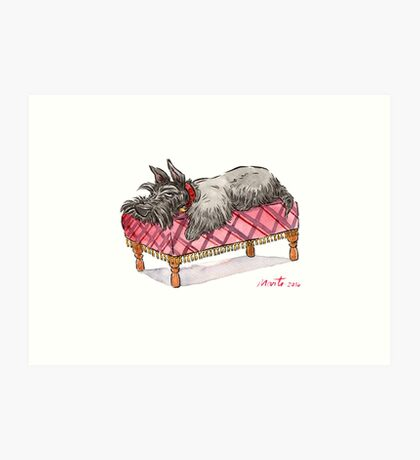 Scottie on a couch Art Print