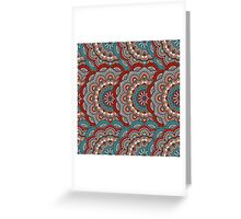 Red & Blue Rowed Mandela Pattern Greeting Card