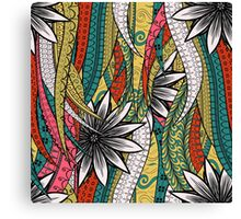 Red & Yellow Boho Floral Fantasy Pattern Canvas Print