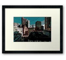 City // Comic Style Framed Print