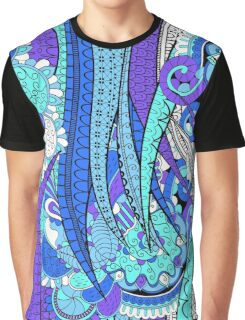 Purple & Blue Floral Fantasy Pattern Graphic T-Shirt