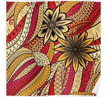 Red & Yellow Boho Floral Fantasy Pattern Poster