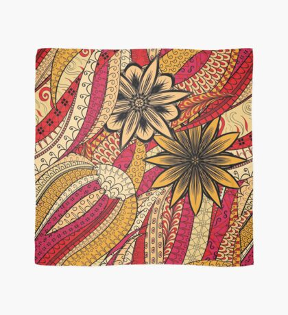 Red & Yellow Boho Floral Fantasy Pattern Scarf