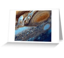 Closeup of the great red spot on Jupiter, space exploration Greeting Card