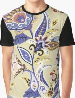 Cream & Blue Boho Floral Pattern Graphic T-Shirt