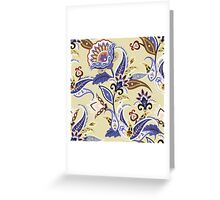Cream & Blue Boho Floral Pattern Greeting Card