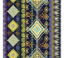 Purple & Yellow Boho Tribal Pattern Photographic Print