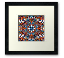 Orange & Blue Boho Mandela Pattern Framed Print