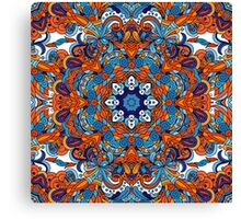 Orange & Blue Boho Mandela Pattern Canvas Print