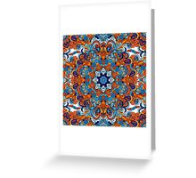 Orange & Blue Boho Mandela Pattern Greeting Card