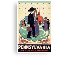 Pennsylvania The Little Red Schoolhouse Vintage Travel Poster Canvas Print