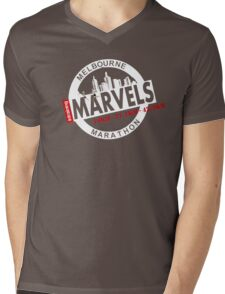 Melbourne Marvel Participent Range white Mens V-Neck T-Shirt