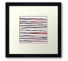 Beautiful old-fashion Stripes Watercolor Black and Red Pattern Framed Print