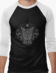 Fox hunting in the snow on black, white and gray Men's Baseball ¾ T-Shirt