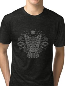 Fox hunting in the snow on black, white and gray Tri-blend T-Shirt