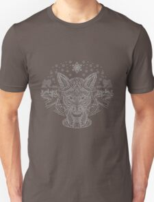 Fox hunting in the snow on black, white and gray Unisex T-Shirt