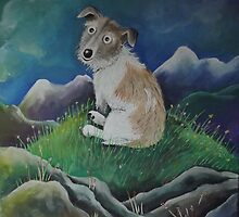 Terrier on a hill top by Caroline  Peacock
