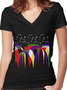 Umbrellas In The Rain Women's Fitted V-Neck T-Shirt