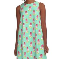 Watermelon Cat Pattern A-Line Dress