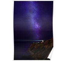 Lighthouse Under Milky Way stars Poster