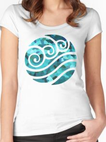 Crystallized Waterbending Emblem Women's Fitted Scoop T-Shirt