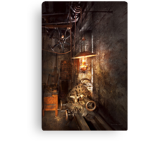 Machinist - Lathe - The corner of an old workshop Canvas Print