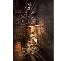 Machinist - Lathe - The corner of an old workshop Photographic Print