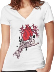 Hearth in Hand, Red and Naked hearth Women's Fitted V-Neck T-Shirt
