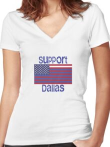 Support Dallas Women's Fitted V-Neck T-Shirt