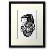Crow and Rose, Black and White Framed Print