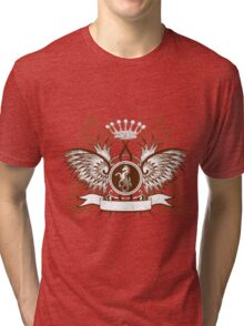Vintage Crown, horse and Eagle cute Design Tri-blend T-Shirt